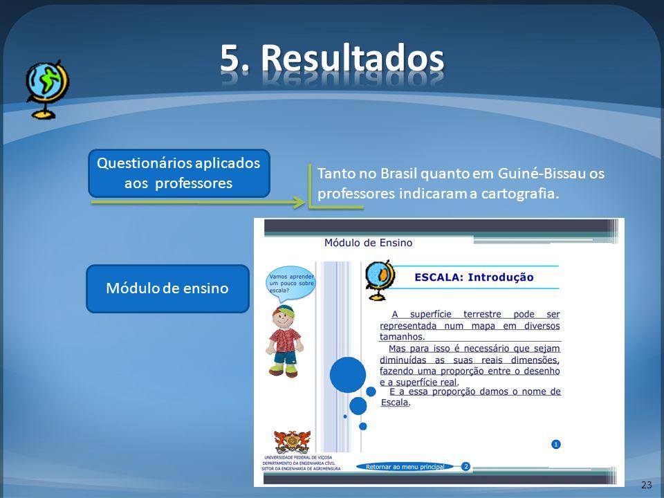 23 Questionários aplicados aos professores Tanto no Brasil quanto em Guiné-Bissau os professores indicaram a cartografia. Módulo de ensino