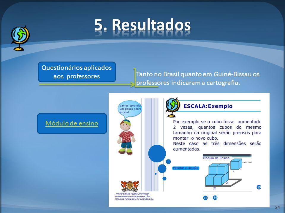 24 Questionários aplicados aos professores Tanto no Brasil quanto em Guiné-Bissau os professores indicaram a cartografia. Módulo de ensino