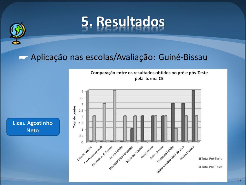 32 Aplicação nas escolas/Avaliação: Guiné-Bissau Liceu Agostinho Neto