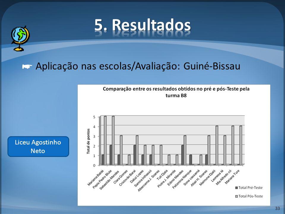 33 Aplicação nas escolas/Avaliação: Guiné-Bissau Liceu Agostinho Neto