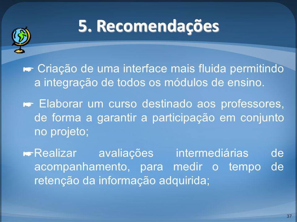 5. Recomendações 37 Criação de uma interface mais fluida permitindo a integração de todos os módulos de ensino. Elaborar um curso destinado aos profes
