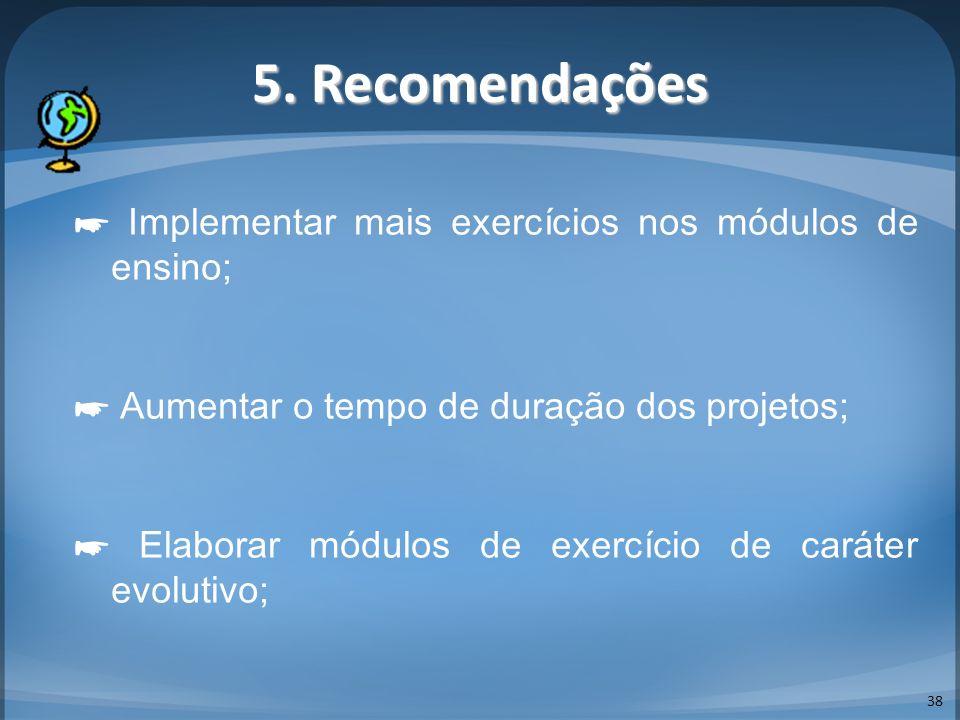 5. Recomendações 38 Implementar mais exercícios nos módulos de ensino; Aumentar o tempo de duração dos projetos; Elaborar módulos de exercício de cará