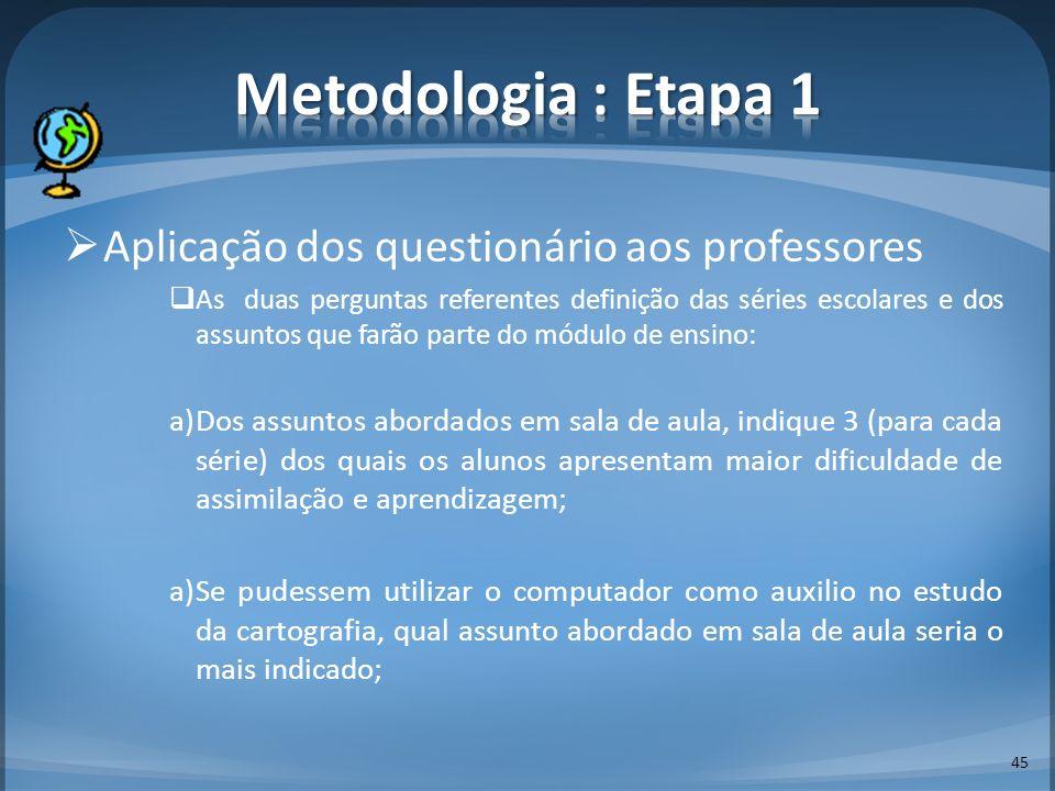 45 Aplicação dos questionário aos professores As duas perguntas referentes definição das séries escolares e dos assuntos que farão parte do módulo de