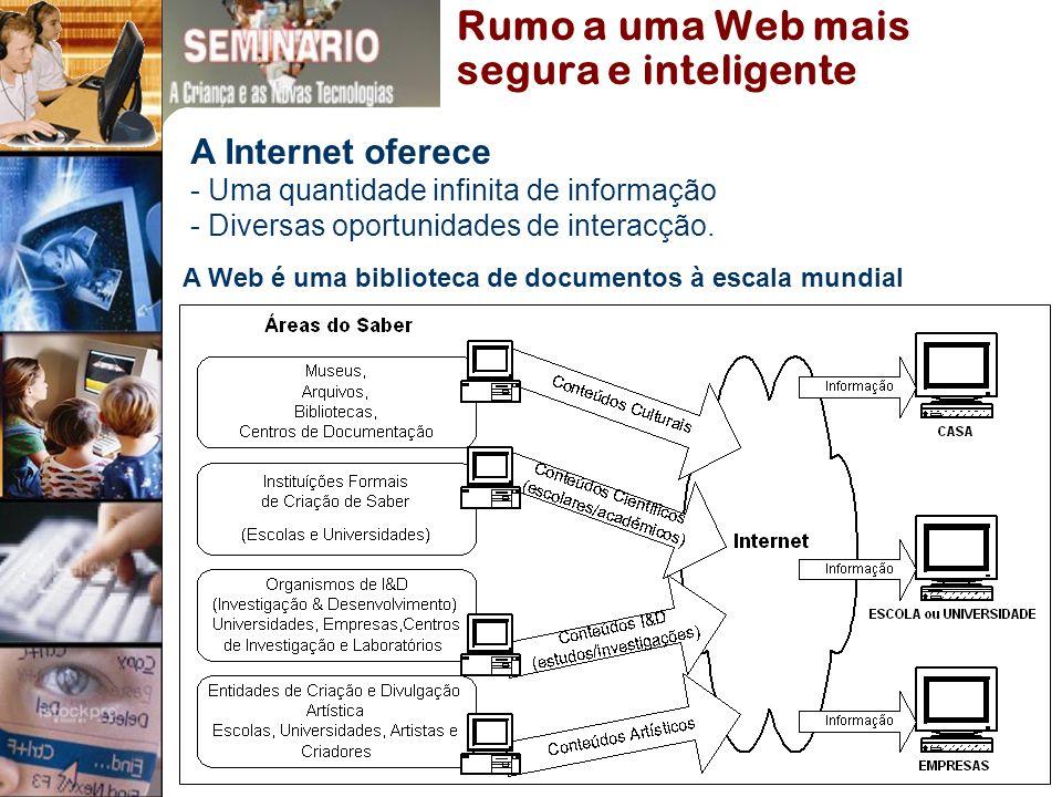 A Web é uma biblioteca de documentos à escala mundial Rumo a uma Web mais segura e inteligente A Internet oferece - Uma quantidade infinita de informação - Diversas oportunidades de interacção.