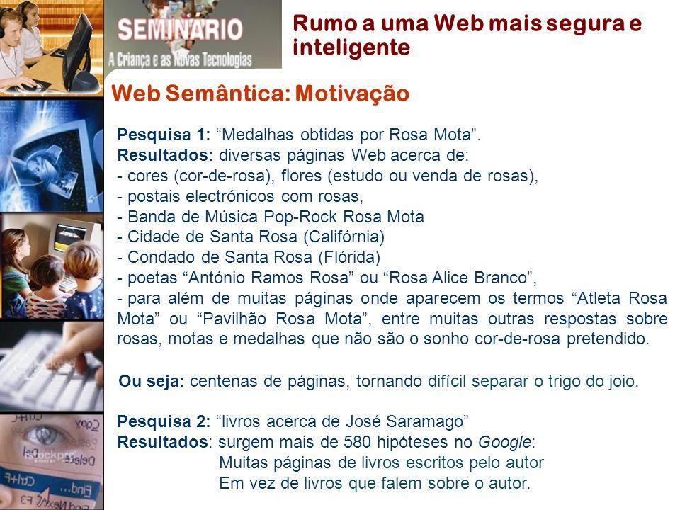 Web Semântica: Motivação Pesquisa 1: Medalhas obtidas por Rosa Mota.