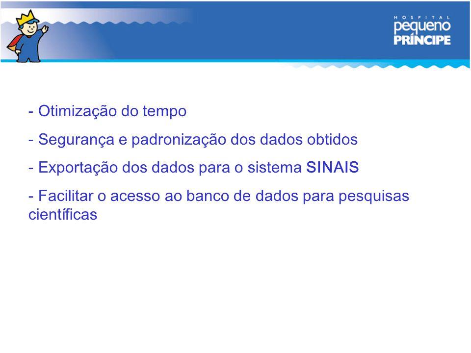 - Otimização do tempo - Segurança e padronização dos dados obtidos - Exportação dos dados para o sistema SINAIS - Facilitar o acesso ao banco de dados