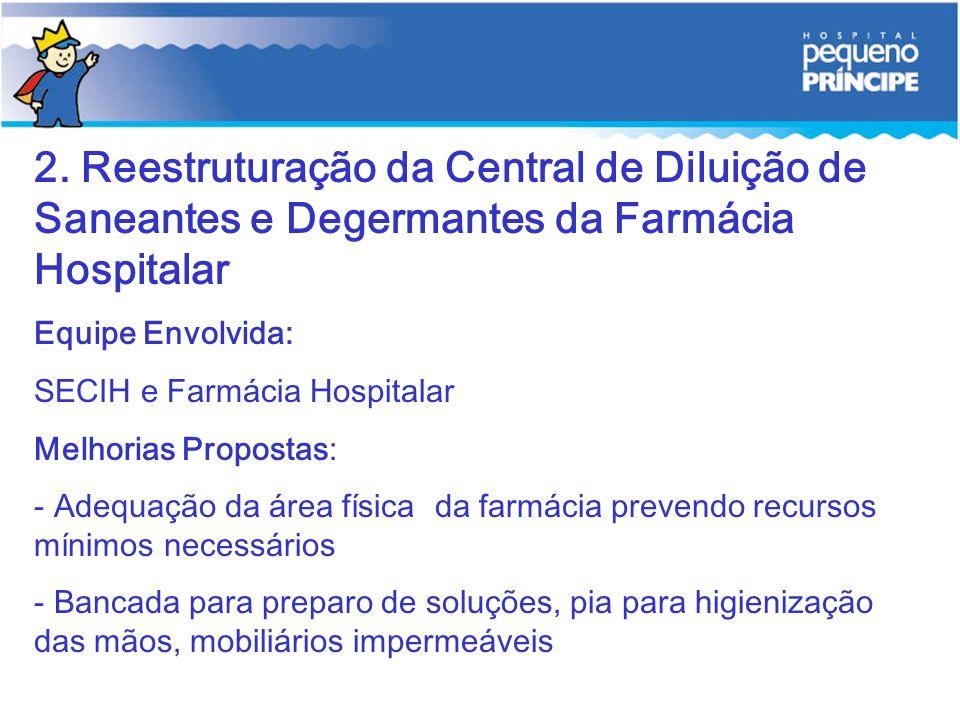 2. Reestruturação da Central de Diluição de Saneantes e Degermantes da Farmácia Hospitalar Equipe Envolvida: SECIH e Farmácia Hospitalar Melhorias Pro