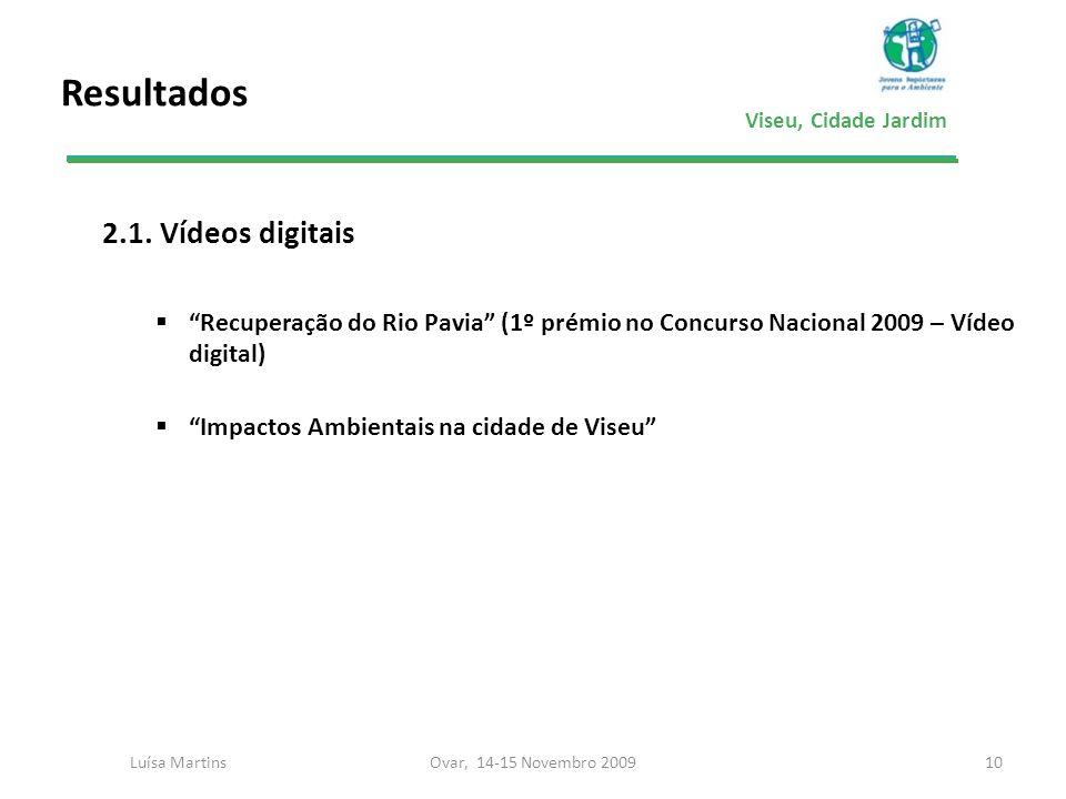 Viseu, Cidade Jardim Resultados 2.1. Vídeos digitais Recuperação do Rio Pavia (1º prémio no Concurso Nacional 2009 – Vídeo digital) Impactos Ambientai