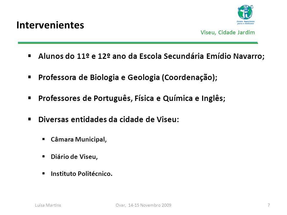 Viseu, Cidade Jardim Intervenientes 7 Alunos do 11º e 12º ano da Escola Secundária Emídio Navarro; Professora de Biologia e Geologia (Coordenação); Pr