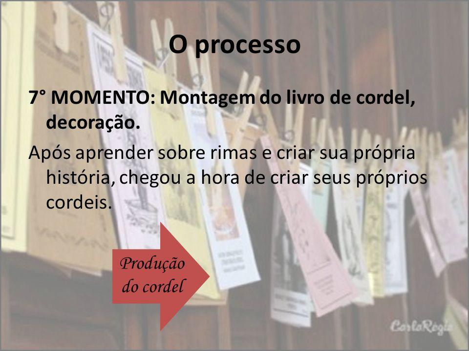 O processo 7° MOMENTO: Montagem do livro de cordel, decoração. Após aprender sobre rimas e criar sua própria história, chegou a hora de criar seus pró