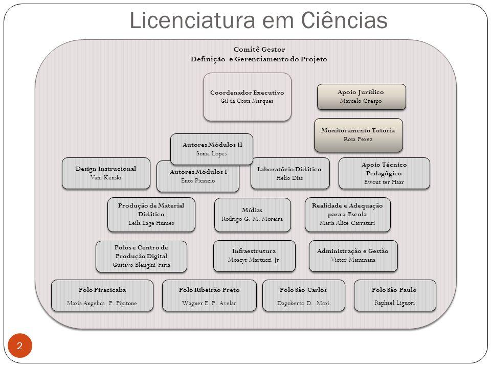 Licenciatura em Ciências 2 Coordenador Executivo Gil da Costa Marques Coordenador Executivo Gil da Costa Marques Realidade e Adequação para a Escola M