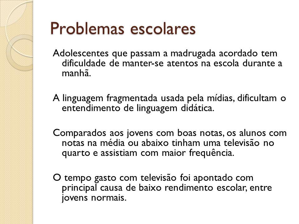 Problemas escolares Adolescentes que passam a madrugada acordado tem dificuldade de manter-se atentos na escola durante a manhã. A linguagem fragmenta