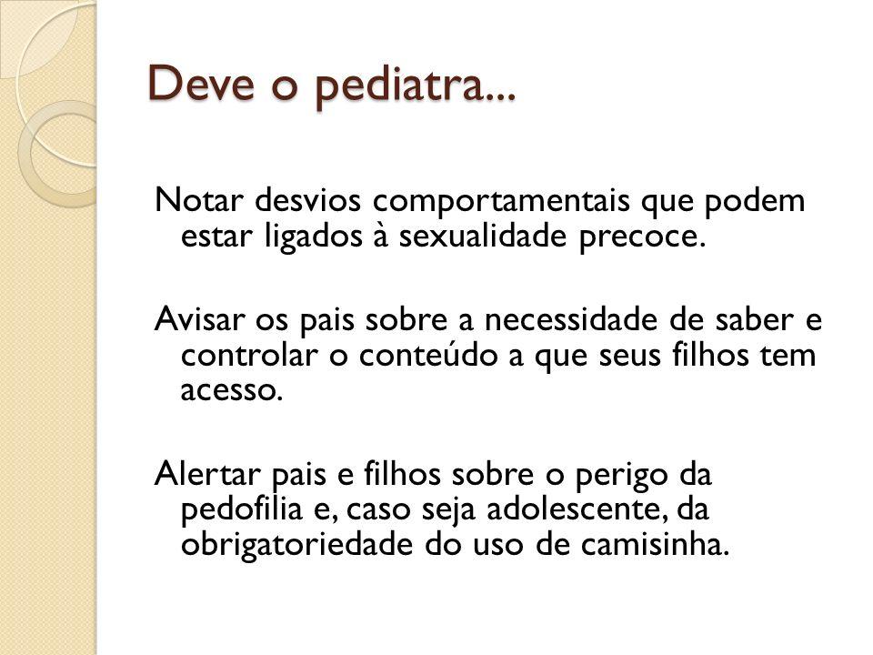 Deve o pediatra... Notar desvios comportamentais que podem estar ligados à sexualidade precoce. Avisar os pais sobre a necessidade de saber e controla