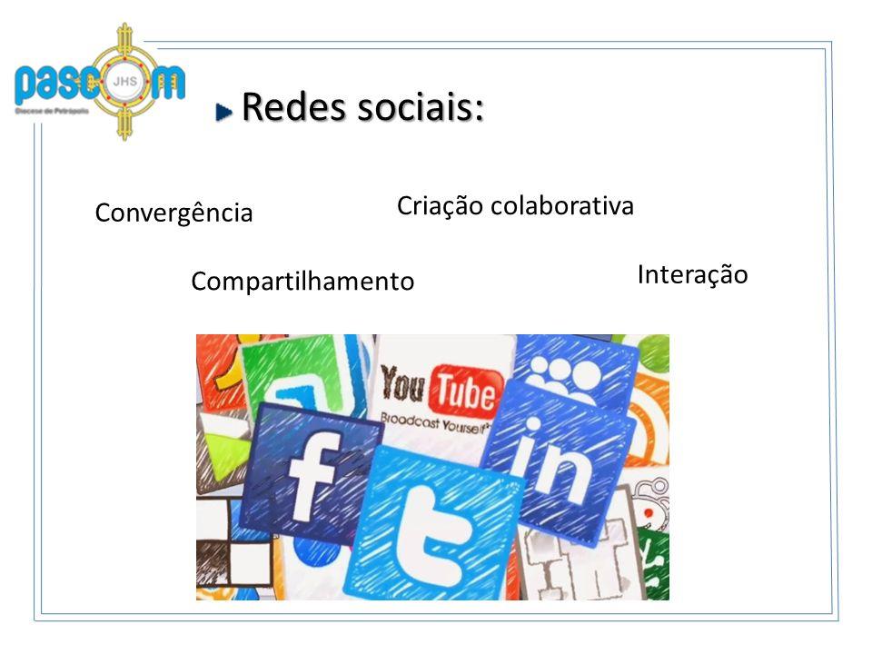 Redes sociais: Redes sociais: Interação Criação colaborativa Compartilhamento Convergência