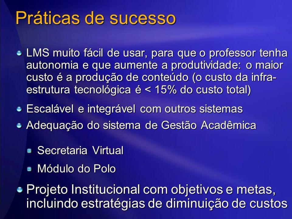 Práticas de sucesso LMS muito fácil de usar, para que o professor tenha autonomia e que aumente a produtividade: o maior custo é a produção de conteúd