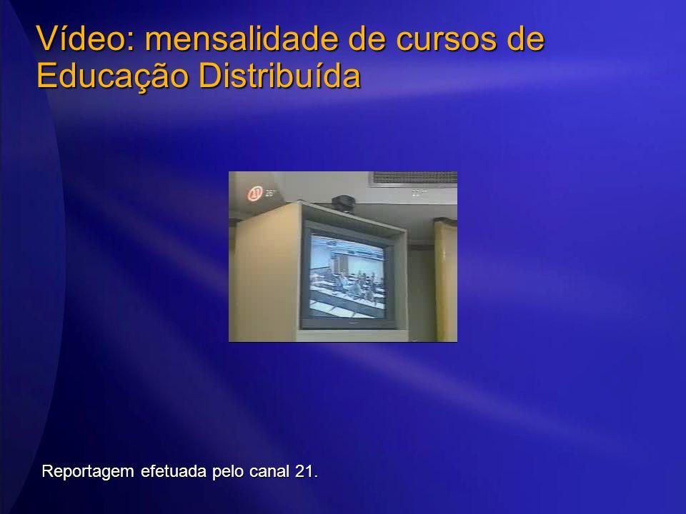 Vídeo: mensalidade de cursos de Educação Distribuída Reportagem efetuada pelo canal 21.