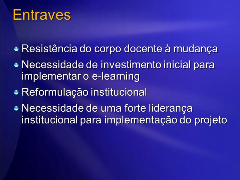 Entraves Resistência do corpo docente à mudança Necessidade de investimento inicial para implementar o e-learning Reformulação institucional Necessida