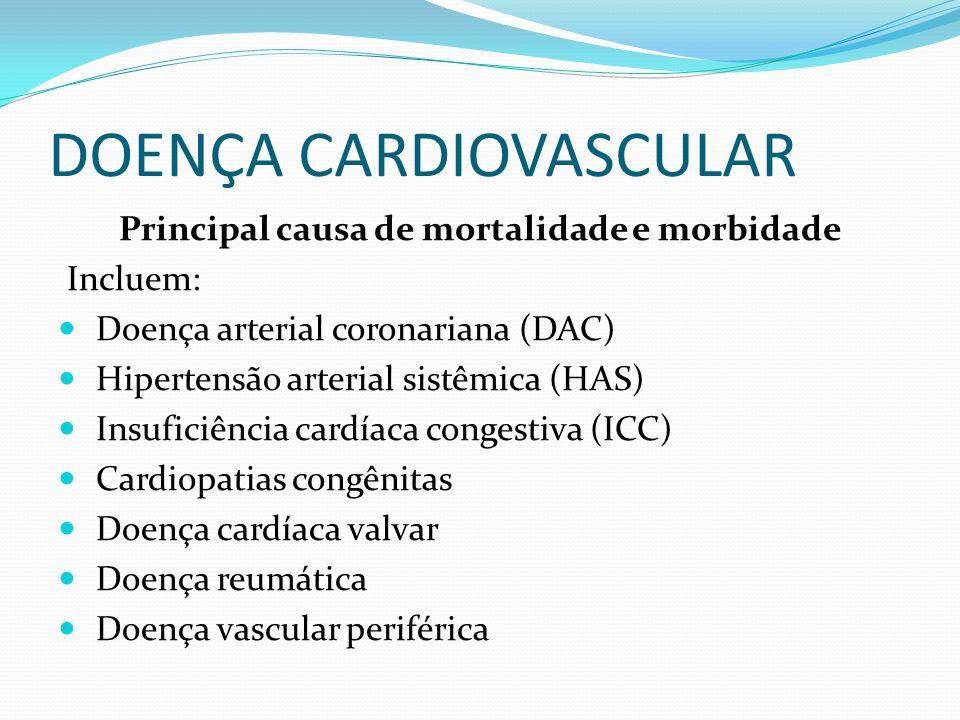 DOENÇA CARDIOVASCULAR Principal causa de mortalidade e morbidade Incluem: Doença arterial coronariana (DAC) Hipertensão arterial sistêmica (HAS) Insuficiência cardíaca congestiva (ICC) Cardiopatias congênitas Doença cardíaca valvar Doença reumática Doença vascular periférica
