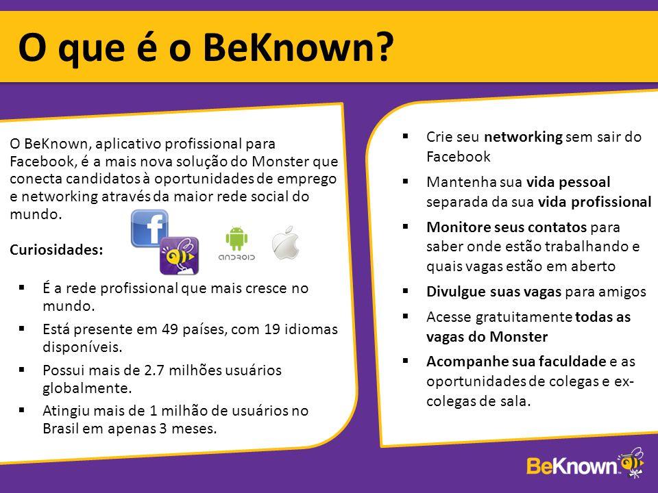 O BeKnown, aplicativo profissional para Facebook, é a mais nova solução do Monster que conecta candidatos à oportunidades de emprego e networking através da maior rede social do mundo.