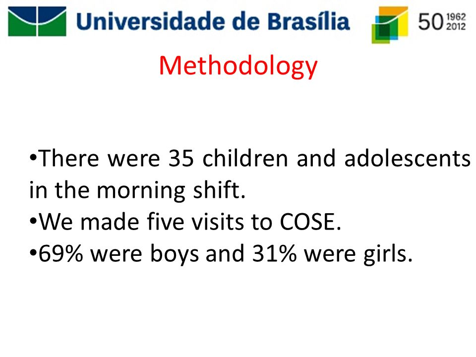 Methodology There were 35 children and adolescents in the morning shift. We made five visits to COSE. 69% were boys and 31% were girls.