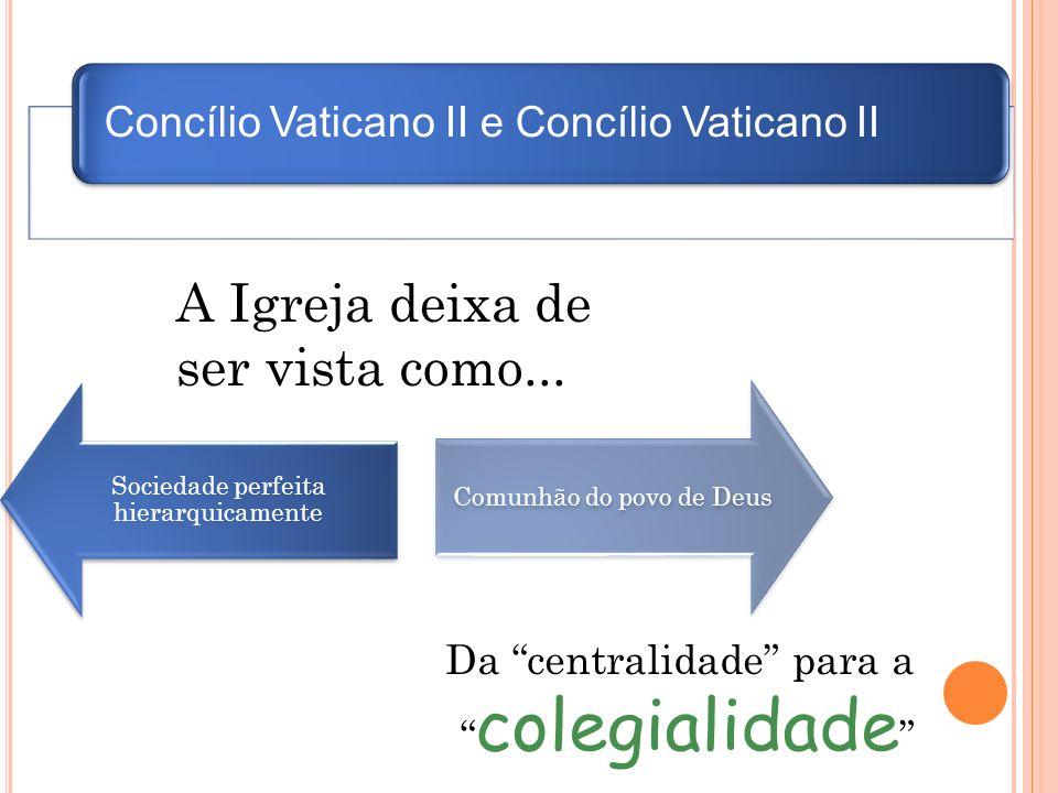Concílio Vaticano II e Concílio Vaticano II Sociedade perfeita hierarquicamente Comunhão do povo de Deus A Igreja deixa de ser vista como... Da centra