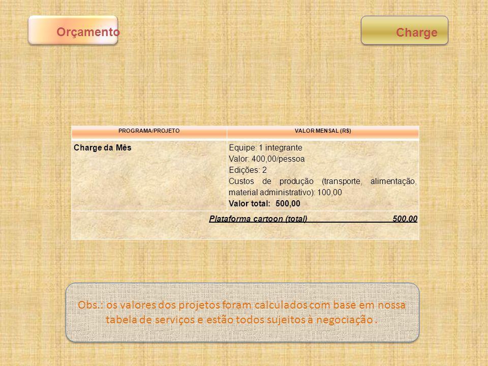 PROGRAMA/PROJETOVALOR MENSAL (R$) Charge da Mês Equipe: 1 integrante Valor: 400,00/pessoa Edições: 2 Custos de produção (transporte, alimentação, mate