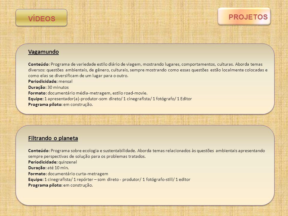 PROGRAMA/PROJETOVALOR MENSAL (R$) Isso aqui é um pouquinho de Brasil (vídeo) Equipe: 4 integrantes Valor: 1000,00/pessoa Edições: 2 Custos de produção (transporte, alimentação, material administrativo): 500,00 Valor total: 4.500,00 Filtrando o planeta (vídeo) Equipe: 4 integrantes Valor: 1000,00/pessoa/edição do programa Edições: 2 Custos de produção (transporte, alimentação, material administrativo): 500,00 Valor total: 4.500,00 Vagamundo (vídeo) Equipe: 4 integrantes Valor: 1000,00/pessoa/edição do programa Edições: 1 Custos de produção (transporte, alimentação, material administrativo): 1.000,00 Valor total: 5.000,00 ArteZona (vídeo) Equipe Alambique: 5 integrantes Valor: 1000,00/pessoa Edições: 1 Custos de produção (transporte, alimentação, material administrativo): 500,00 Valor total: 5.500,00 Plataforma vídeo (total) 19.500,00 Orçamento Vídeos