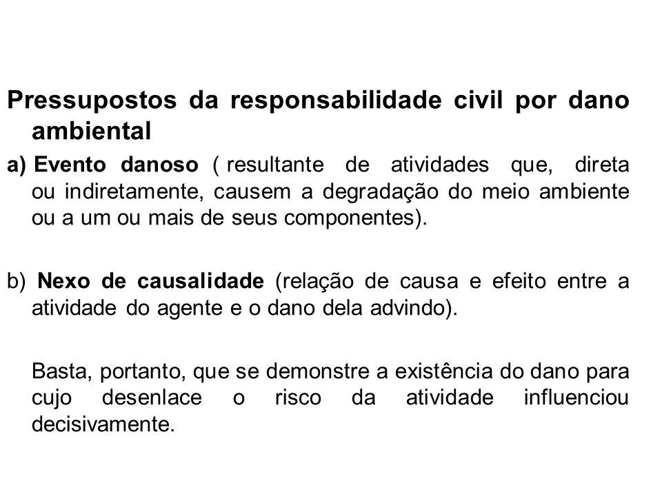 Pressupostos da responsabilidade civil por dano ambiental a) Evento danoso ( resultante de atividades que, direta ou indiretamente, causem a degradaçã