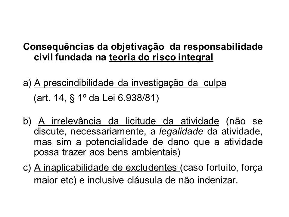 Consequências da objetivação da responsabilidade civil fundada na teoria do risco integral a) A prescindibilidade da investigação da culpa (art. 14, §