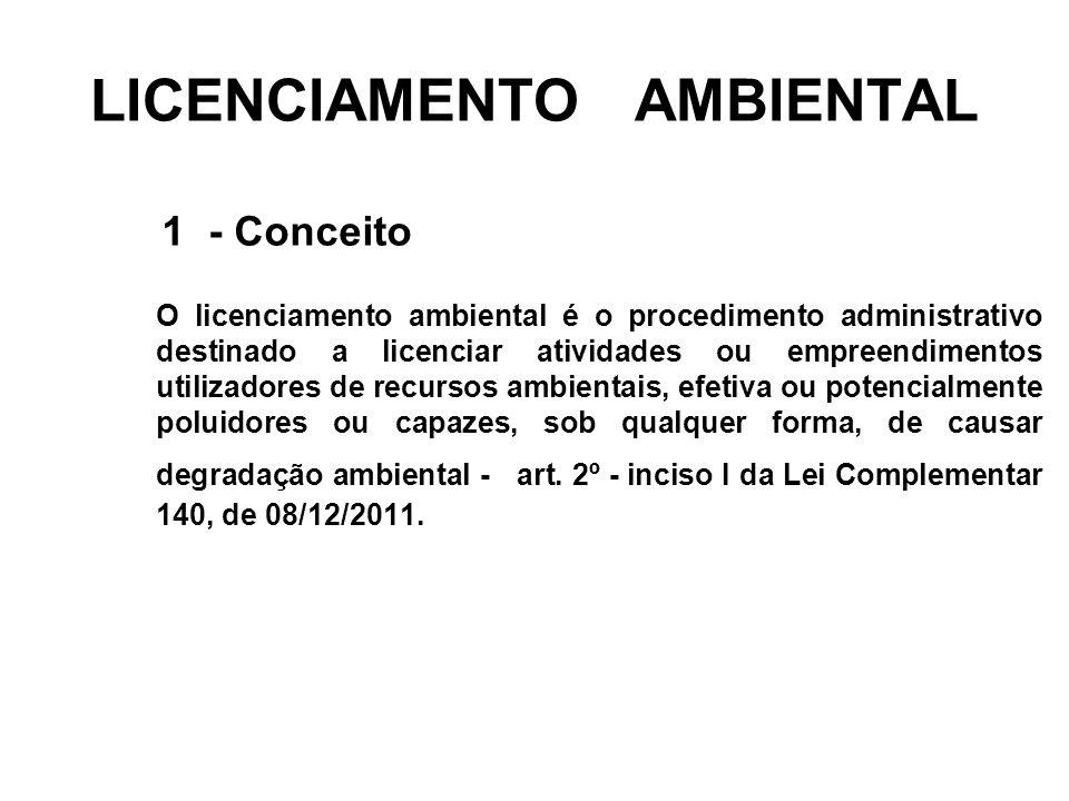 LICENCIAMENTO AMBIENTAL 1 - Conceito O licenciamento ambiental é o procedimento administrativo destinado a licenciar atividades ou empreendimentos uti