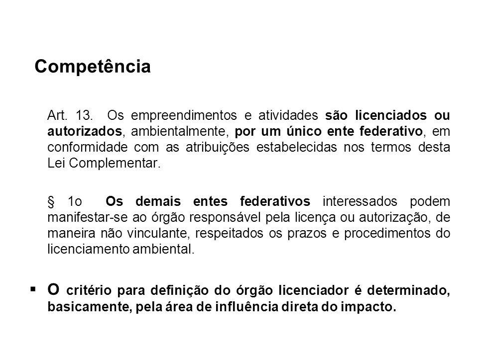 Competência Art. 13. Os empreendimentos e atividades são licenciados ou autorizados, ambientalmente, por um único ente federativo, em conformidade com