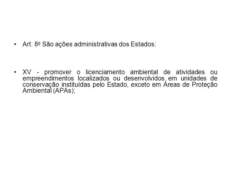 Art. 8 o São ações administrativas dos Estados: XV - promover o licenciamento ambiental de atividades ou empreendimentos localizados ou desenvolvidos
