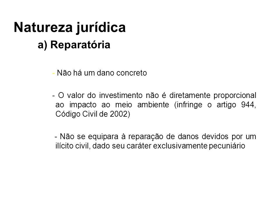 Natureza jurídica a) Reparatória - Não há um dano concreto - O valor do investimento não é diretamente proporcional ao impacto ao meio ambiente (infri