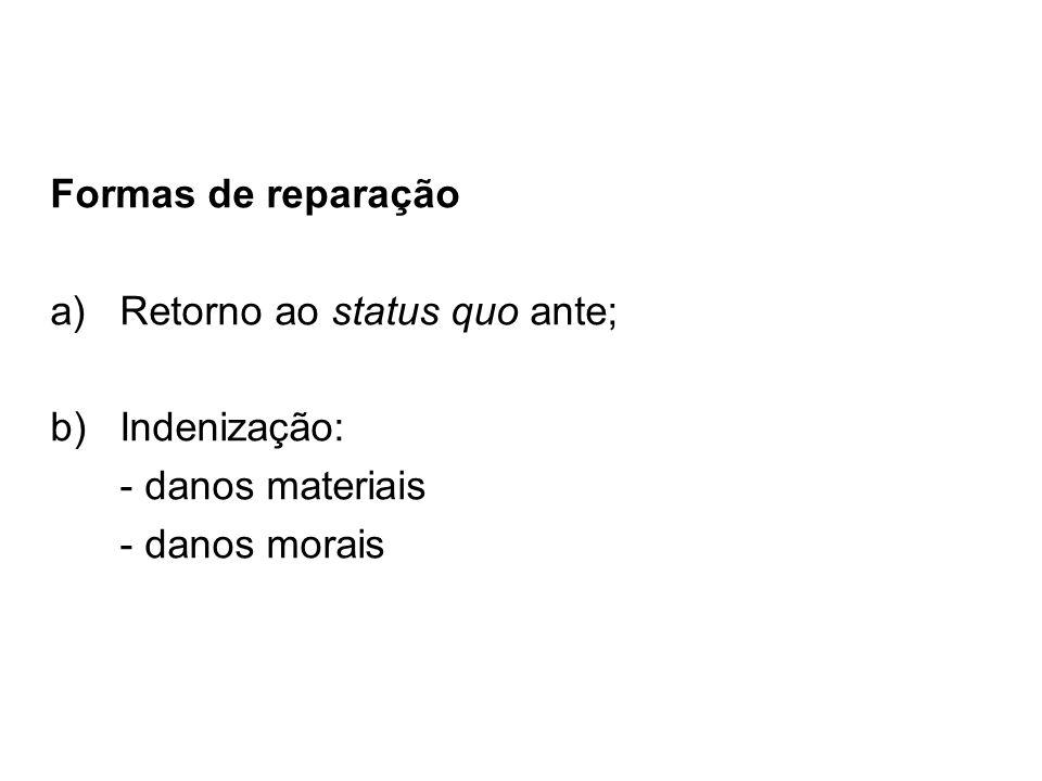 Formas de reparação a)Retorno ao status quo ante; b)Indenização: - danos materiais - danos morais