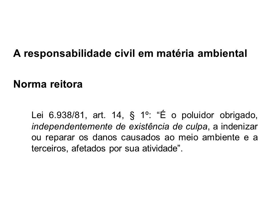 A responsabilidade civil em matéria ambiental Norma reitora Lei 6.938/81, art. 14, § 1º: É o poluidor obrigado, independentemente de existência de cul