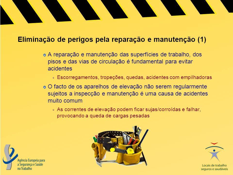 Os cinco requisitos básicos da segurança dos trabalhos de reparação e manutenção: Planeamento do trabalho; Preparação de uma área de trabalho segura; Utilização de equipamento adequado; Execução do trabalho de acordo com o plano; Verificação final do trabalho realizado.