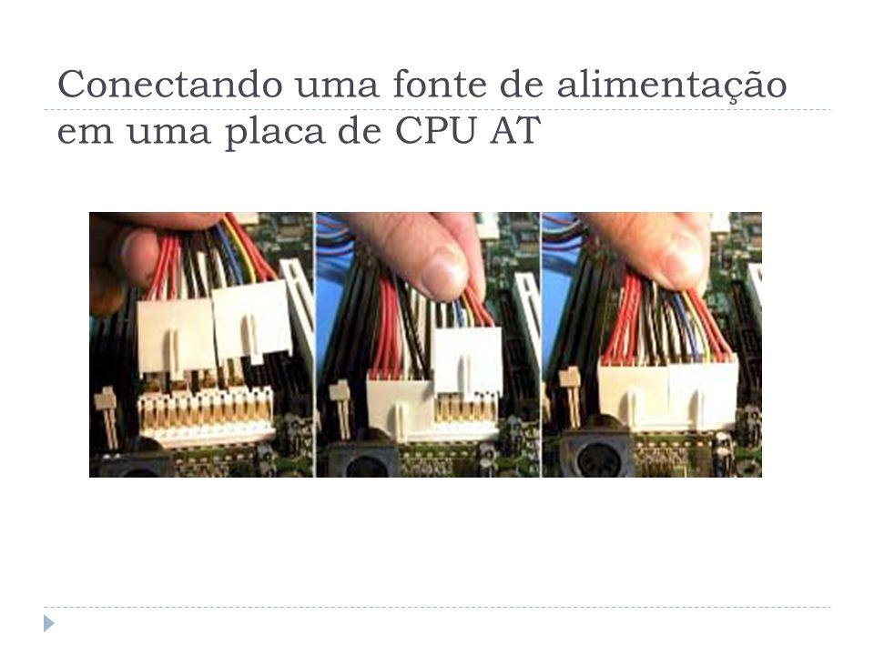Conectando uma fonte de alimentação em uma placa de CPU AT