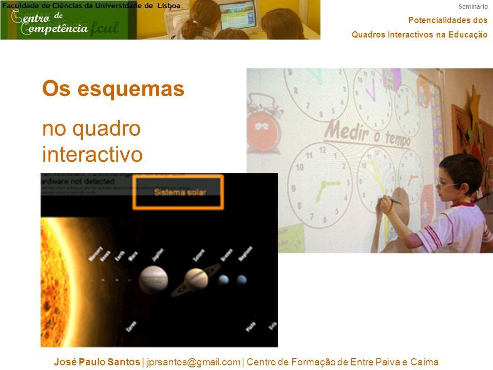 Seminário Potencialidades dos Quadros Interactivos na Educação José Paulo Santos | jprsantos@gmail.com | Centro de Formação de Entre Paiva e Caima Os esquemas no quadro interactivo