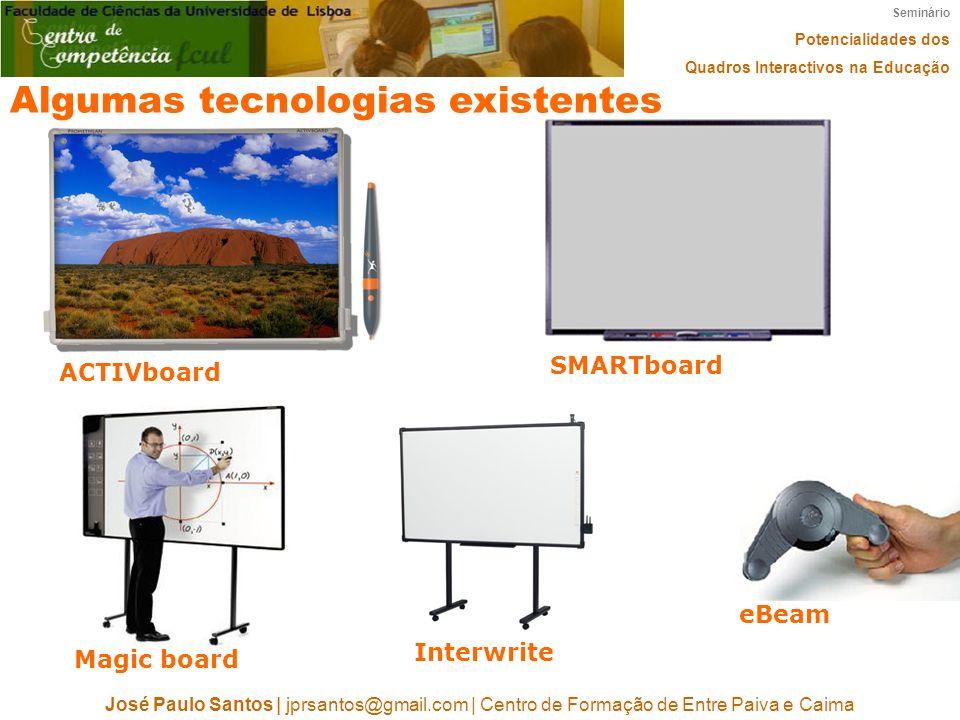 Seminário Potencialidades dos Quadros Interactivos na Educação José Paulo Santos   jprsantos@gmail.com   Centro de Formação de Entre Paiva e Caima Alg