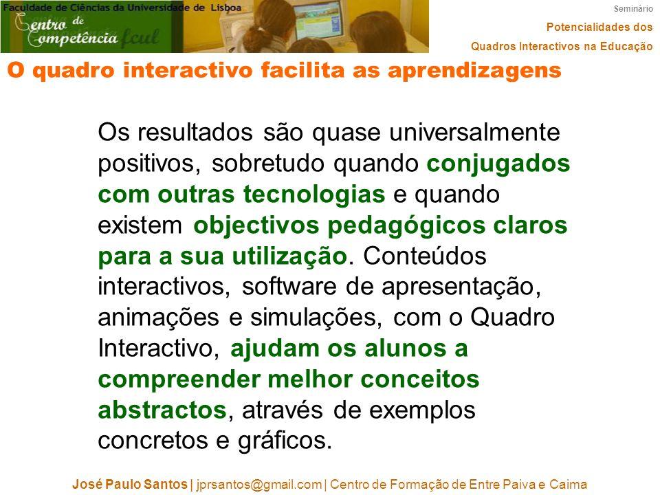 Seminário Potencialidades dos Quadros Interactivos na Educação José Paulo Santos   jprsantos@gmail.com   Centro de Formação de Entre Paiva e Caima O q