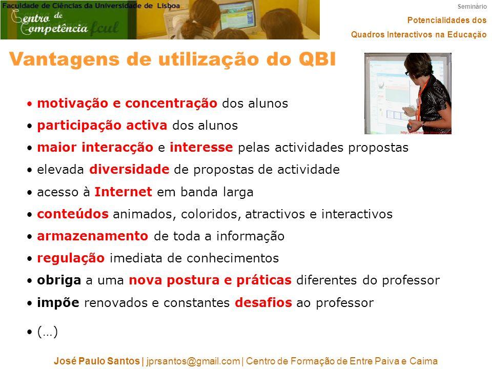 Seminário Potencialidades dos Quadros Interactivos na Educação José Paulo Santos   jprsantos@gmail.com   Centro de Formação de Entre Paiva e Caima Van