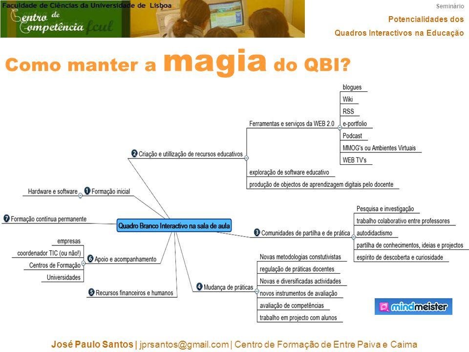 Seminário Potencialidades dos Quadros Interactivos na Educação José Paulo Santos | jprsantos@gmail.com | Centro de Formação de Entre Paiva e Caima Como manter a magia do QBI?
