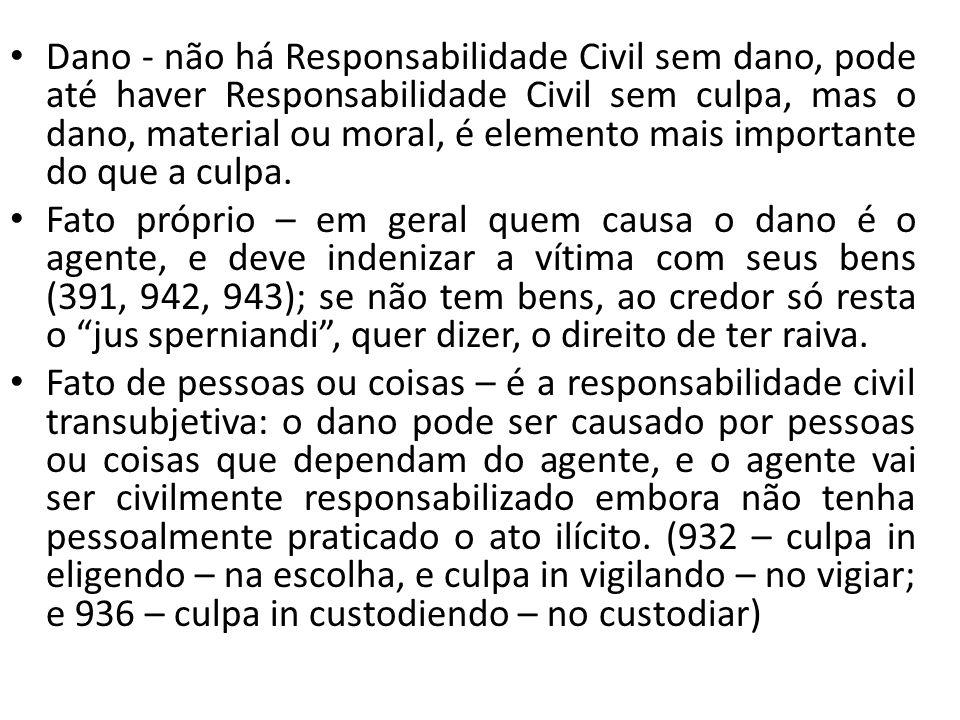 Dano - não há Responsabilidade Civil sem dano, pode até haver Responsabilidade Civil sem culpa, mas o dano, material ou moral, é elemento mais importa