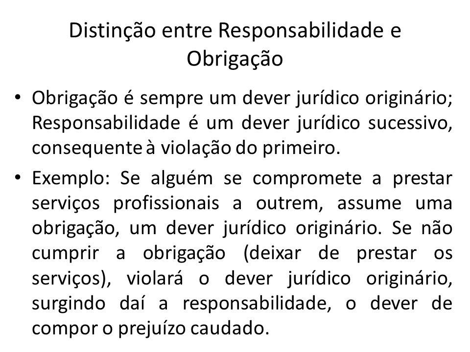 Distinção entre Responsabilidade e Obrigação Obrigação é sempre um dever jurídico originário; Responsabilidade é um dever jurídico sucessivo, conseque