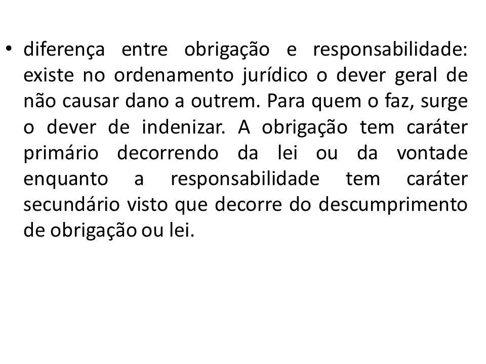 diferença entre obrigação e responsabilidade: existe no ordenamento jurídico o dever geral de não causar dano a outrem. Para quem o faz, surge o dever
