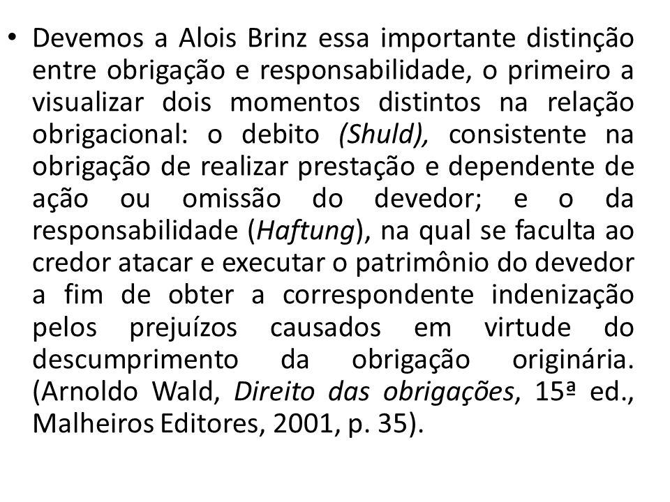 Devemos a Alois Brinz essa importante distinção entre obrigação e responsabilidade, o primeiro a visualizar dois momentos distintos na relação obrigac