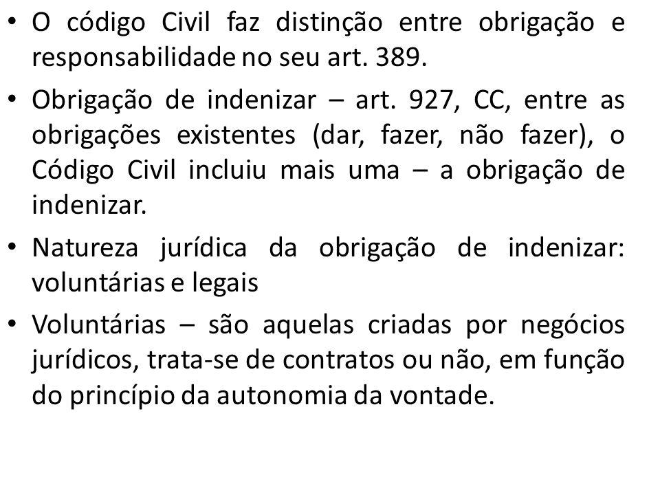 O código Civil faz distinção entre obrigação e responsabilidade no seu art. 389. Obrigação de indenizar – art. 927, CC, entre as obrigações existentes