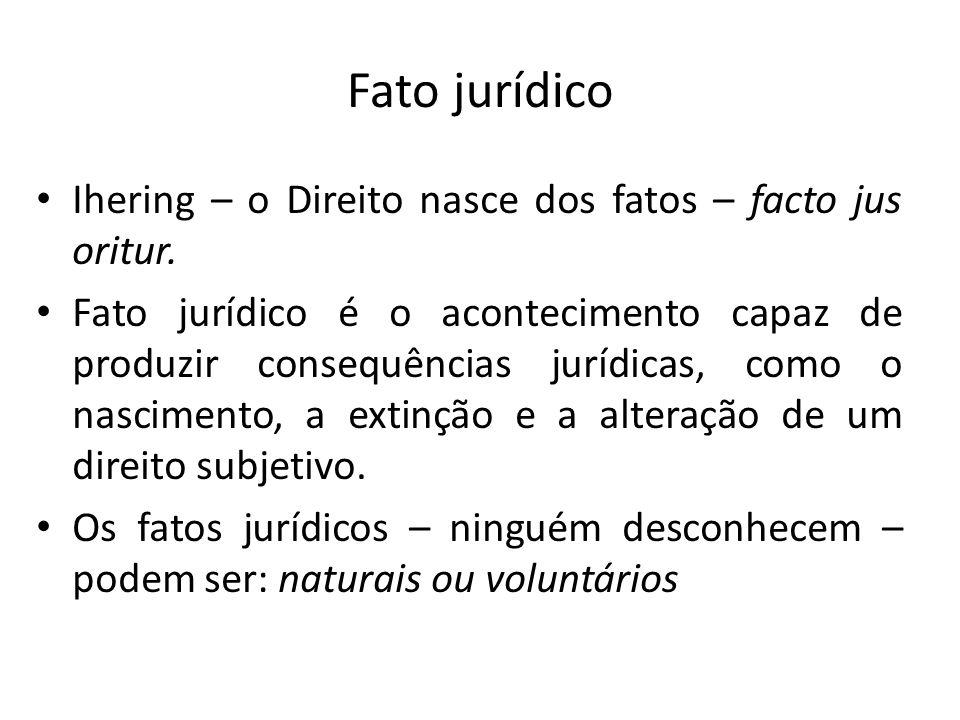 Fato jurídico Ihering – o Direito nasce dos fatos – facto jus oritur. Fato jurídico é o acontecimento capaz de produzir consequências jurídicas, como