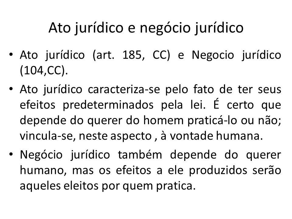 Ato jurídico e negócio jurídico Ato jurídico (art. 185, CC) e Negocio jurídico (104,CC). Ato jurídico caracteriza-se pelo fato de ter seus efeitos pre