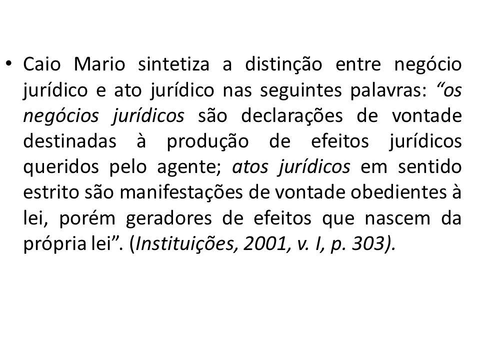 Caio Mario sintetiza a distinção entre negócio jurídico e ato jurídico nas seguintes palavras: os negócios jurídicos são declarações de vontade destin
